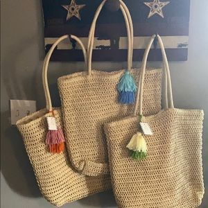 Three Woven Totes With Poms!  NWT